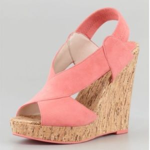 Pelle Moda Dana Crisscross Cork Wedge Coral Sandal